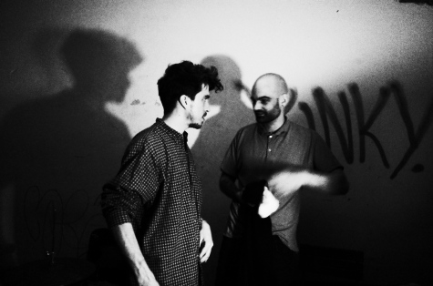 with Giorgos Stavridis after playing a Duo at Loophole April 2018. Photo by Klaus Sauer